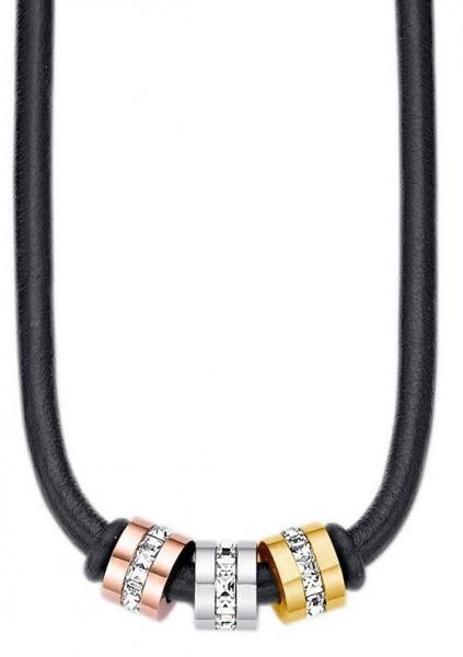 s.Oliver Damen Halskette 9029174 Leder Edelstahl mit Swarovski-Crystals