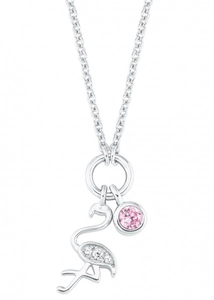 s.Oliver Mädchen Halskette 2027460 Flamingo-Anhänger Silber