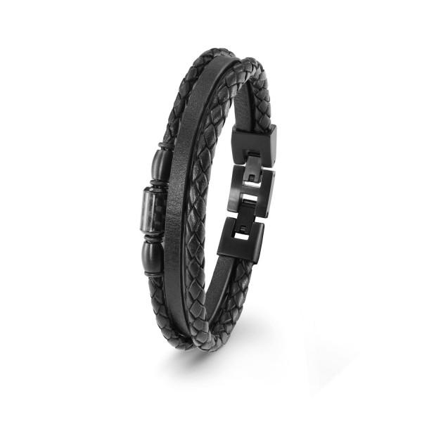 s.Oliver Herren Armband 2022637 Edelstahl Leder Carbon schwarz