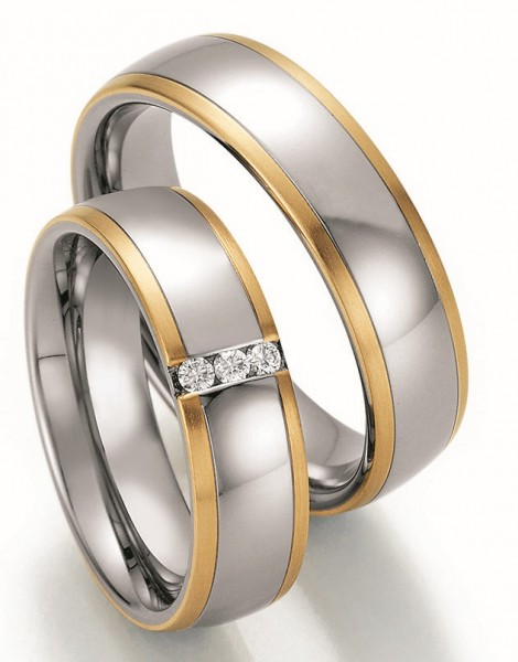 Eheringe Trauringe Ruesch Steel & Gold Sensation 88/60130 88/60140 Edelstahl Gelbgold