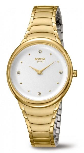 Boccia Damen Armbanduhr 3276-14 Trend gelbgold IP