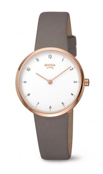 Boccia Damen Armbanduhr 3315-03 Trend Lederband taube