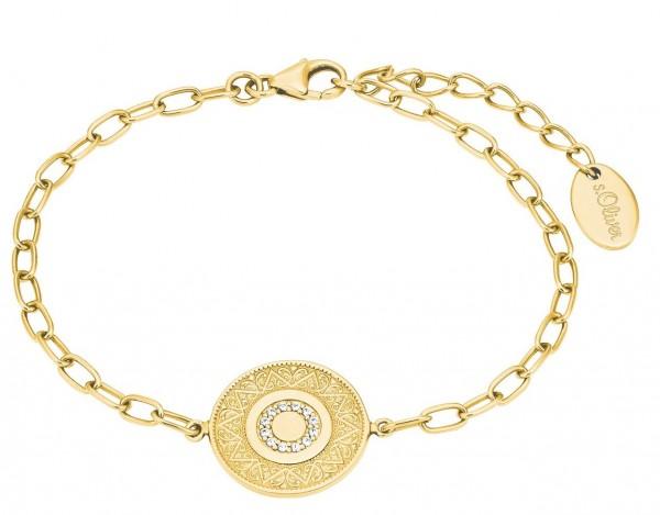 s.Oliver Damen Armband 2027622 Münze Zirkonia Silber vergoldet