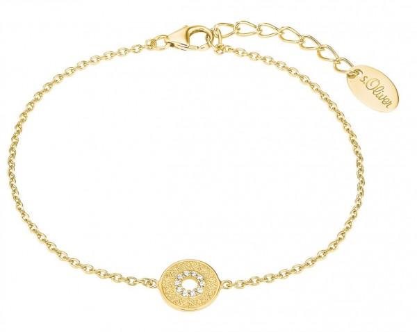 s.Oliver Damen Armband 2027621 Münze Zirkonia Silber vergoldet