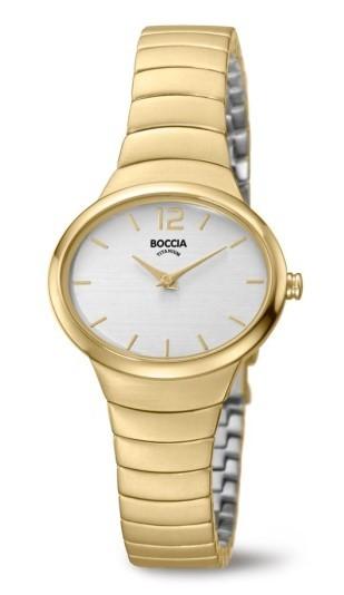 Boccia Damen Armbanduhr 3280-02 Trend gelbgold IP