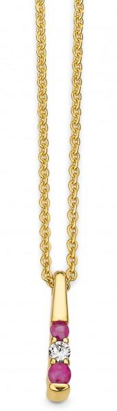 CEM Trends Damen Halskette G3-00230C Gold mit Anhänger Rubin Zirkonia