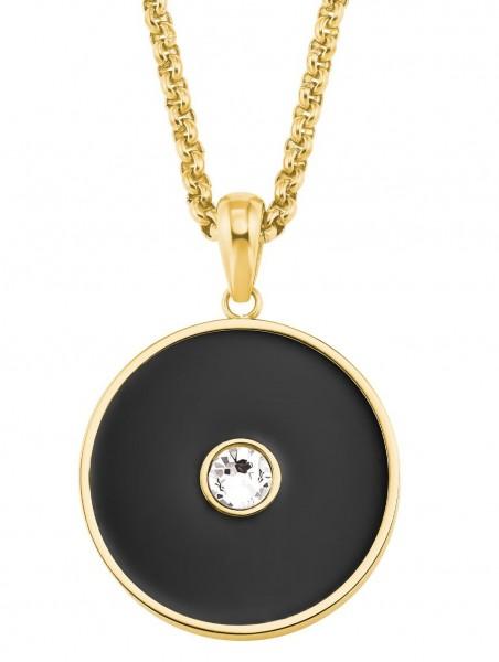 s.Oliver Damen Halskette 2026178 Edelstahl gelbgold IP mit Swarovski® Kristallen