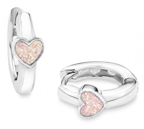 Lillifee Mädchen Creolen 9049219 Herz Silber Zirkonia rosa