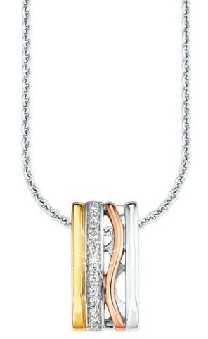 s.Oliver Damen Halskette SO1183/01 Tricolor Silber Zirkonia