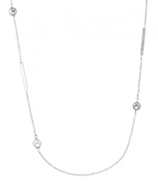 s.Oliver Damen Halskette 2031463 Edelstahl Zirkonia Glasperlen