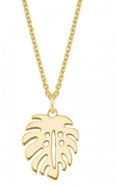 s.Oliver Damen Halskette SO PURE 2027561 Blattanhänger Silber vergoldet