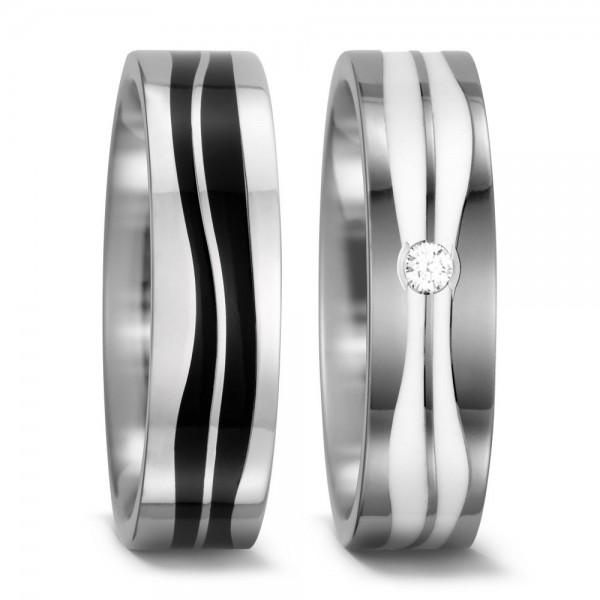 Eheringe Trauringe 52396 Titan Ceramic schwarz weiß