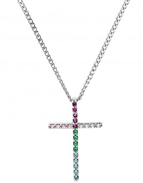 Lillifee Mädchen Halskette 2031165 Kreuz Silber Zirkonia bunt