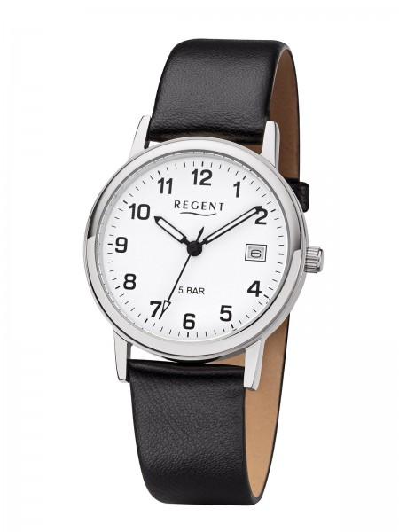 Regent Herren Armbanduhr F-791 Edelstahl Lederband