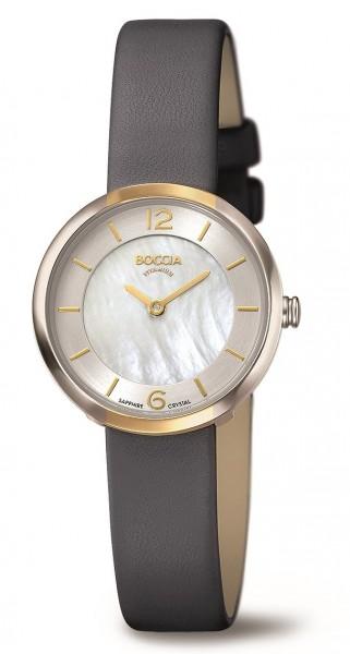 Boccia Damen Armbanduhr 3266-04 Superslim Lederband
