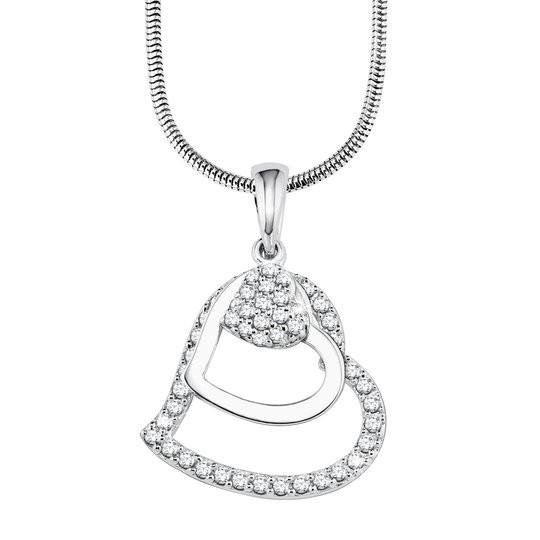 s.Oliver Damen Halskette 9082575 Herz Zirkonia Silber 925