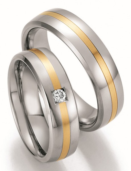 Eheringe Trauringe Ruesch Steel & Gold Sensation 88/60110 88/60120 Edelstahl Gelbgold