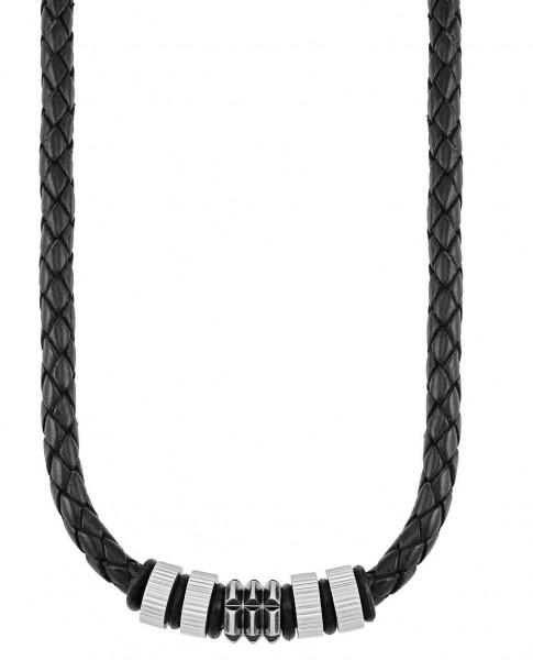 s.Oliver Herren Halskette 2027437 Leder schwarz Edelstahl-Beads