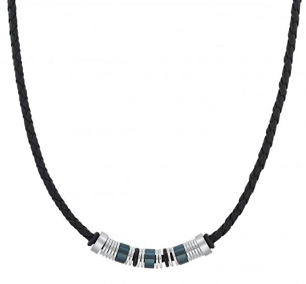 s.Oliver Herren Halskette 2031474 Leder schwarz Edelstahlbeads blau