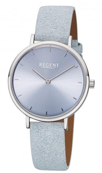 Regent Damen Armbanduhr F-1136 Edelstahl Lederband hellblau
