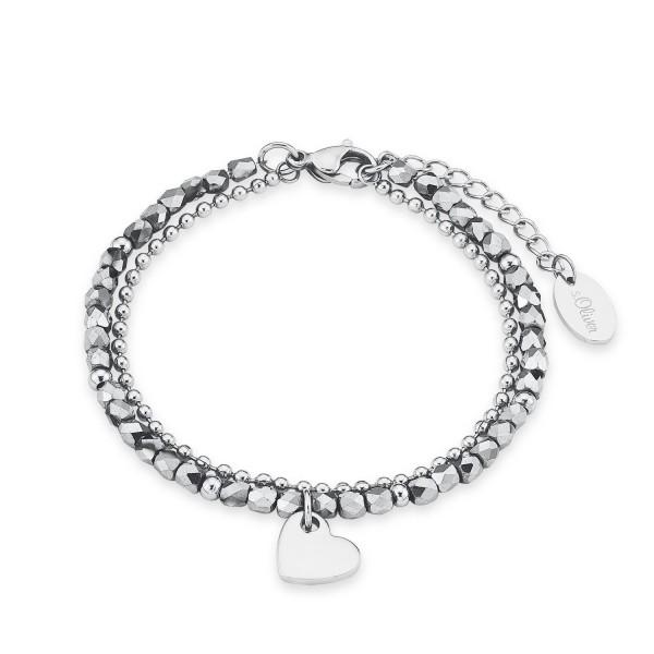 s.Oliver 2018344 Armband Herz Edelstahl grau