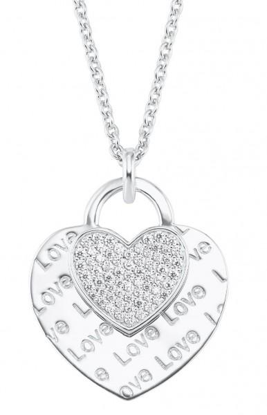 s.Oliver Damen Halskette 2026089 Herz Silber Zirkonia