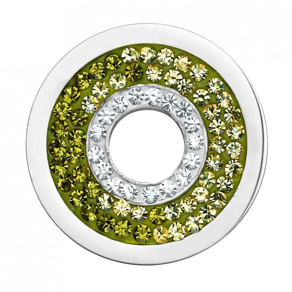 CEM Coins CS185/CS186 Anhänger Kreis Kristall grün melliert