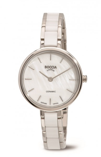 Boccia Damen Armbanduhr 3245-01 Ceramic weiß