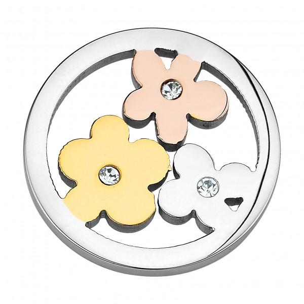 CEM Coins CS123/CS124 Anhänger Blumen Kristall Tricolor