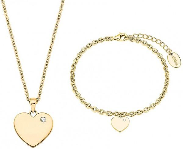 s.Oliver Damen Schmuckset Halskette und Armband 2027003 Edelstahl Gelbgold IP