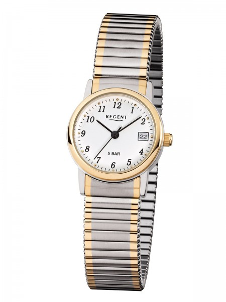 Regent Damen Armbanduhr F-889 Zugband bicolor