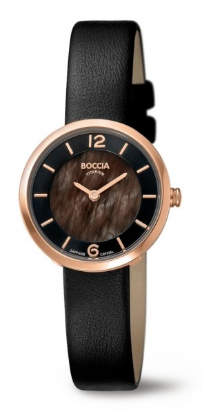 Boccia Damen Armbanduhr 3266-03 Superslim Lederband