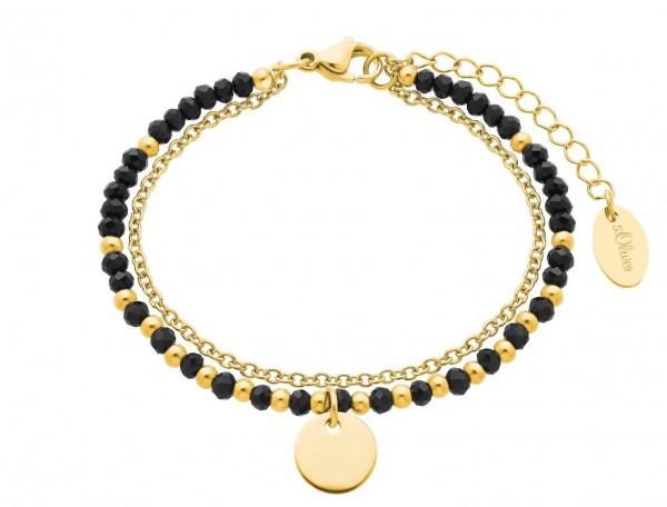 s.Oliver Damen Armband 2026183 Glassteine Edelstahl gold IP