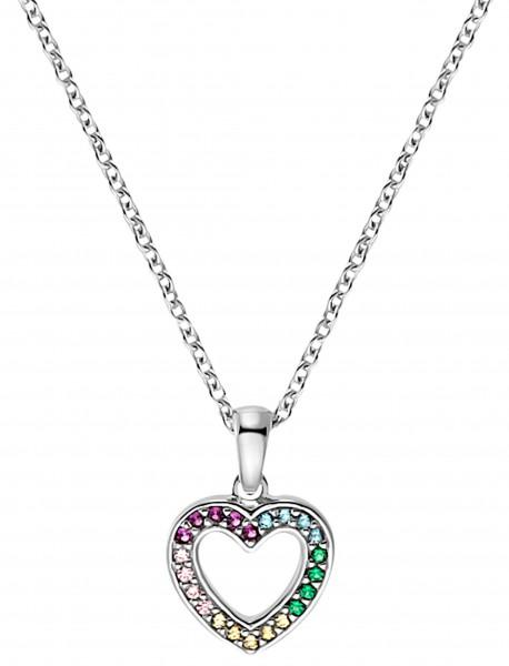 Lillifee Mädchen Halskette 2031167 Herzanhänger Silber Zirkonia bunt