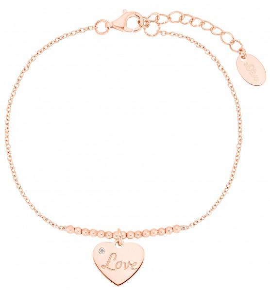 s.Oliver Damen Armband SO PURE 2031419 Herz Love Silber rosévergoldet Zirkonia