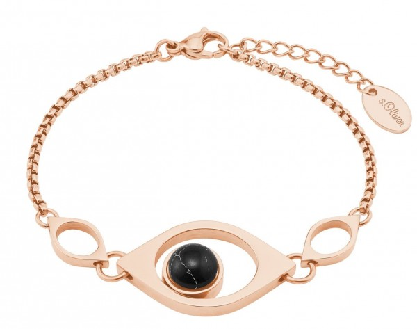 s.Oliver Damen Armband 2026176 Edelstahl Rosé IP synth. Türkis und Swarovski® Kristalle