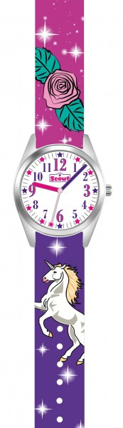 Scout Mädchen Armbanduhr Classic 280309005 Einhorn lila-pink