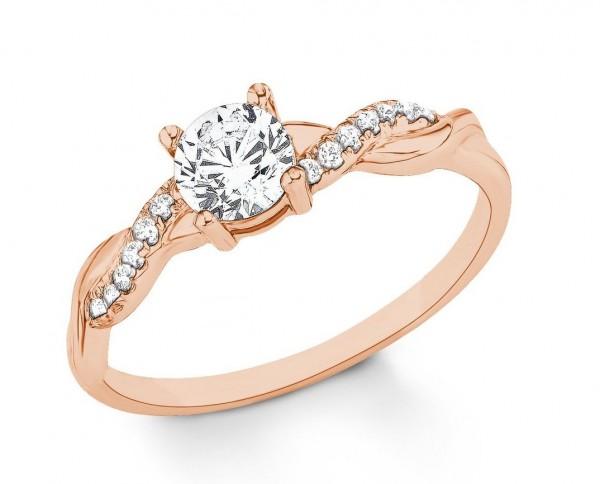 s.Oliver Damen Ring 2021007 Zirkonia Silber rosevergoldet