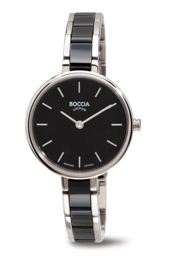 Boccia Damen Armbanduhr 3245-02 Ceramic schwarz