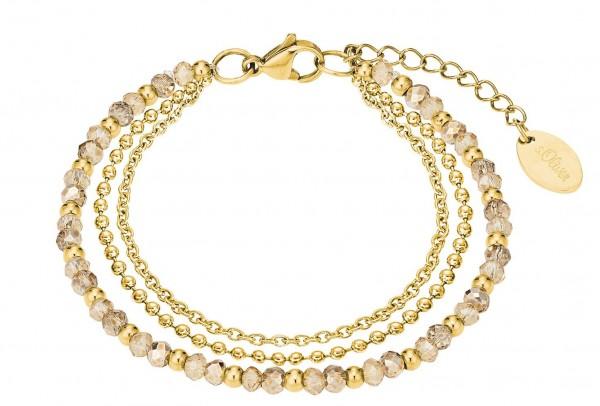s.Oliver Damen Armband 2026182 Glassteine Edelstahl gold IP