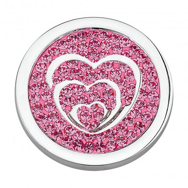 CEM Coins CS051/CS052 Anhänger Herzen Kristall pink