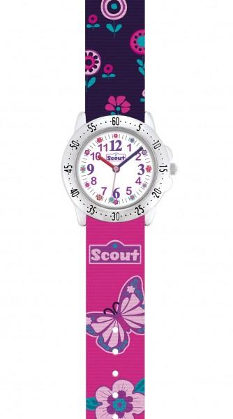 Scout Kinder Armbanduhr 280378014 ACTION GIRLS Schmetterlinge Blumen
