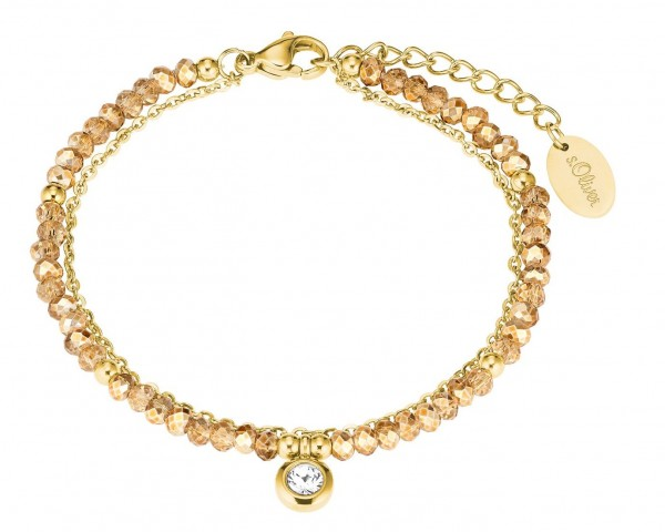 s.Oliver Damen Armband 2027604 Glassteine Edelstahl gold IP