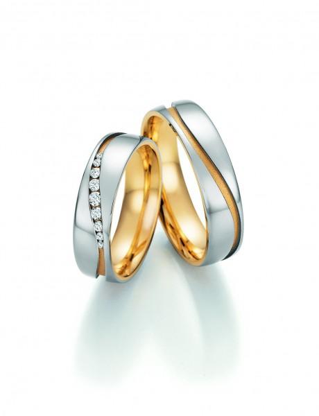 Trauringe SOLID IV 66/42150-66/42160 Weißgold/Gelbgold