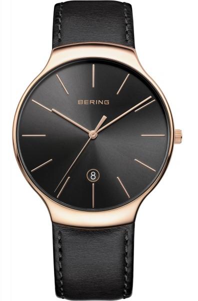 Bering Armbanduhr Unisex 13338-462 Classic roségold Lederband schwarz