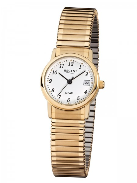 Regent Damen Armbanduhr F-890 Zugband goldfarbig