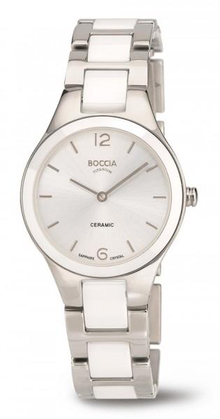 Boccia Damen Armbanduhr 3306-01 Ceramic weiß