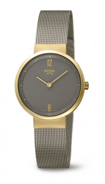 Boccia Damen Armbanduhr 3283-02 Superslim gelbgold IP