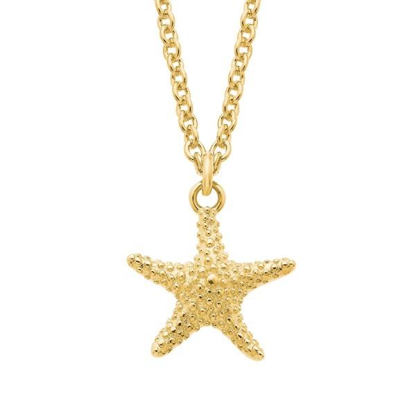 s.Oliver Damen Halskette SO PURE 2026123 Seestern Silber vergoldet