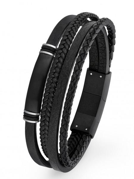 s.Oliver Herren Armband 2026001 ID Leder Edelstahl black IP